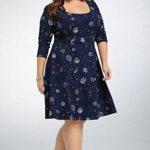 Blue/Black Textured Floral Skater Dress Size 0